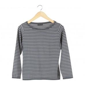 Noir Sur Blanc Dark Blue And White Striped T-Shirt