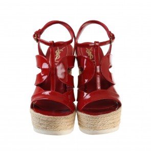Saint Laurent Strappy  Red Patent Leather Wedge