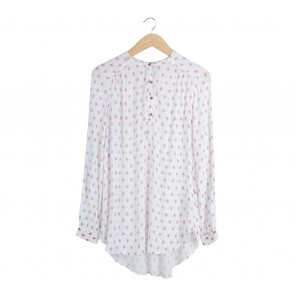 H&M White And Maroon Patterned Blouse