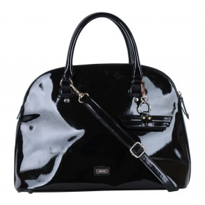 Mango Black Shiny Bowling Pattern Handbag