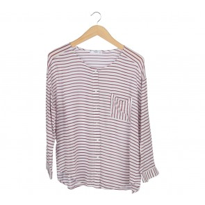 Mango Red And White Striped Shirt