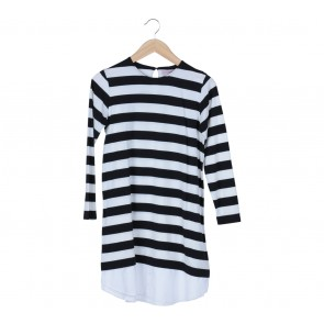 Cotton Ink Black And White Striped Mini Dress