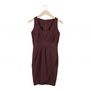 (X)SML Maroon Wrap Mini Dress