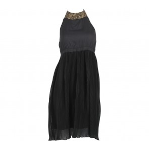 Stradivarius Black Pleated Halter Midi Dress