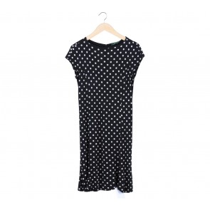 Ralph Lauren Black and White Polkadot Midi Dress