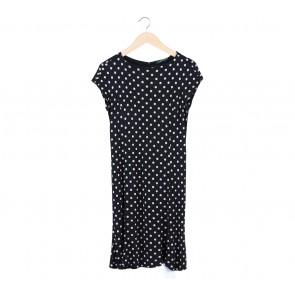 Ralph Lauren Black and White Polkadot Midi Dress