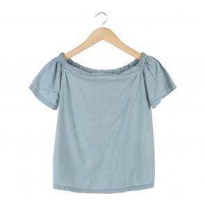 Cotton Ink Blue Bardot Blouse