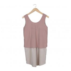 Petite Cupcake Pink And Cream Layered Sleveless Mini Dress