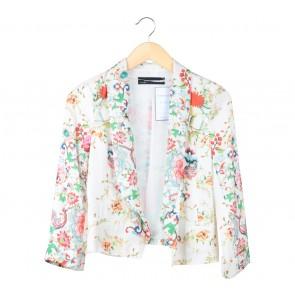 Zara Off White Floral Blazer