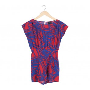 Asos Blue And Red Belted Jumpsuit