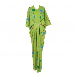 Febianihermaini   Green With Colorful Patttern Long Dress
