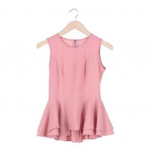 (X)SML Pink Peplum Sleeveless Sleeveless