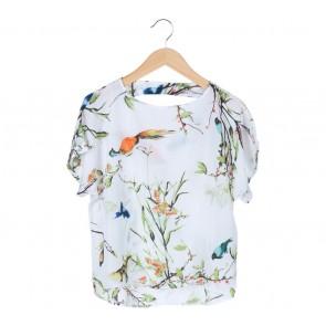 Mango  White Birds Pattern Polyester Blouse