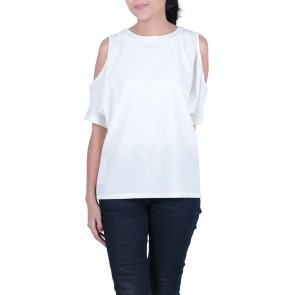 This is April   White Cold Shoulder Blouse