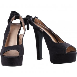 Forever 21 Black Suede Ribbon Back Detail Heels