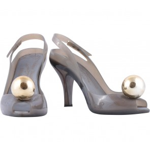 Melissa Grey Gold Dragon Ball Sandals