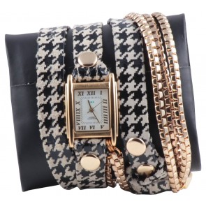 Lamer Collections Multi Colour Houndstooth Chain Wrap Watch
