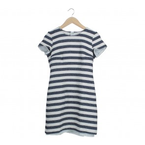 Esprit Dark Blue And Off White Striped Mini Dress