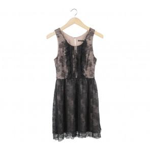 Massimo Dutti Black Lace Mini Dress