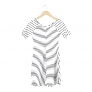 Zara White And Black Striped Mini Dress