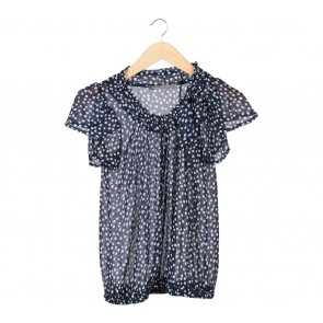 Zara Dark Blue And White Polka Dot Blouse