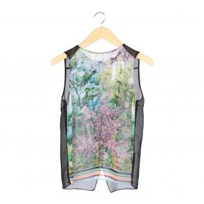 Zara Black Sheer Printed Sleeveless
