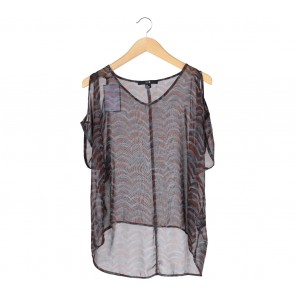 Forever 21 Brown And Grey Cold Shoulder Blouse