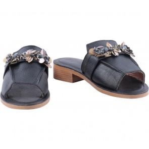 Pvra Black Leather Floral Applique Sandals