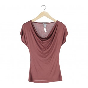 H&M Brown Draped Blouse