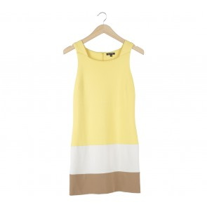 Massimo Dutti Yellow And Brown Sleeveless Mini Dress