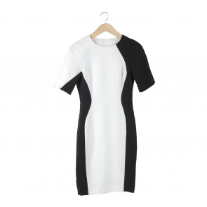 Red Herring Black And Off White Midi Dress