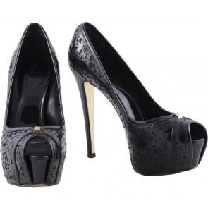 Pedro Black Platform Peep Toe Heels