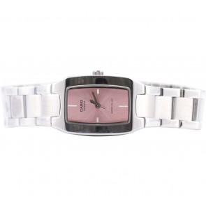 Casio Silver And Pink Square Watch