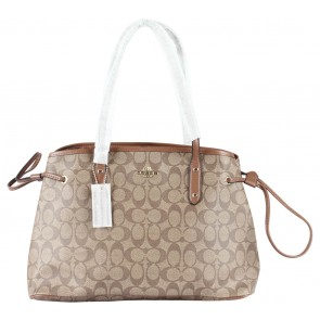Coach Brown Signature Drawstring Carryall Tote Bag