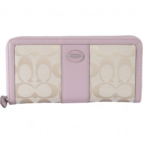 Coach Cream And Pink Monogram Wallet