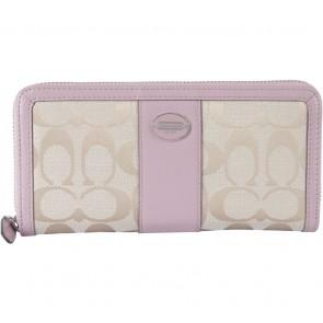 Coach Cream And Pink Monogram Wallet