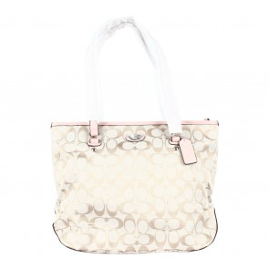 Coach Pink Signature Zip Top Tote Bag