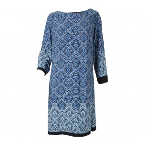 Enfocus Studio Blue Patterned Mini Dress