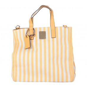 Les Catino Yellow And Off White Handbag