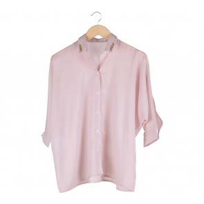 Cotton Ink Pink Cut Sleeve and Gem Detailed Collar Shirt
