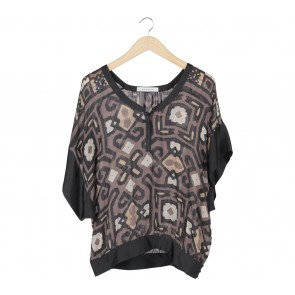 Zara Brown And Black Patterned Blouse