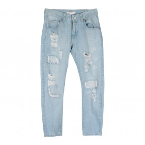 Cotton Ink Blue Ripped Pants