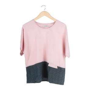 Cotton Ink Pink And Dark Green Textured Blouse