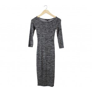 Forever 21 Black And Grey Midi Dress