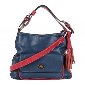 Maaya Dark Blue And Red Tassels Shoulder Bag