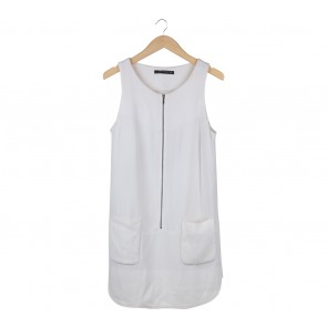 Zara Off White Sleeveless Mini Dress