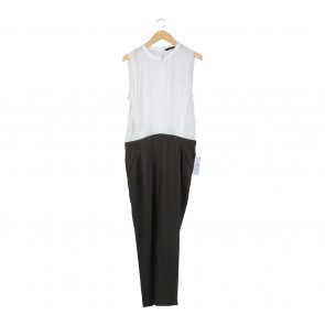 Zara White And Green Cut Out Jumpsuit
