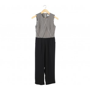 (X)SML Cream And Black Striped Back Cut Out Jumpsuit