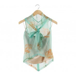 Biyan Blue Floral Sleeveless with Inner Two Piece