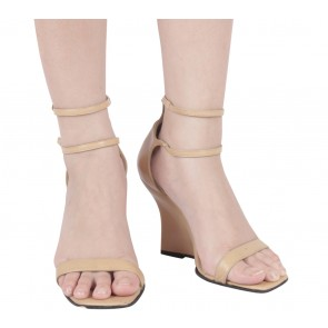 Charles David Beige Ankle Strap Wedges